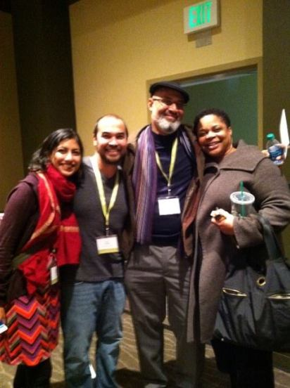 Writers Sejal Shah, Jon Pineda, Tim Seibles, and Crystal Williams at AWP 2014 in Seattle, post panel.