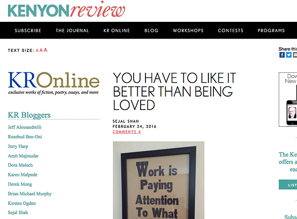 Screenshot of the Kenyon Review