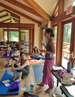 Photo of Sejal Shah teaching a Writing & Yoga workshop