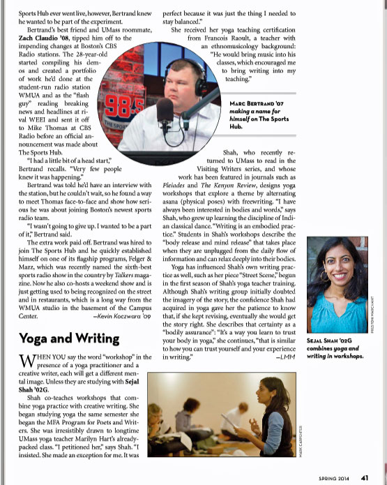 Screenshot of article about Sejal Shah in Umass Amherst Alumni Magazine